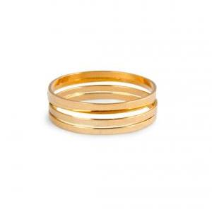 4 Thin Knuckle Rings - gold plated ..