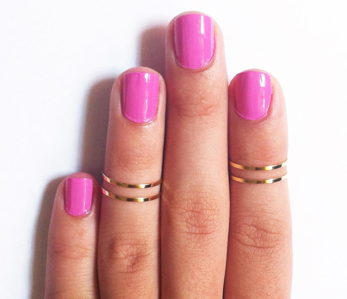 4 Thin Knuckle Rings - gold plated thin shiny bands - set of 4 stackable midi rings